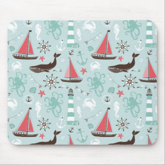 Nautical Ocean Blue and Rose Mouse Pad