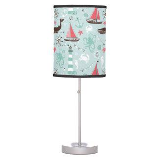 Nautical Ocean Blue and Rose Table Lamp