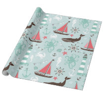 Nautical Ocean Blue and Rose Wrapping Paper