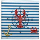 Nautical Ocean Blue and White Stripe Napkins