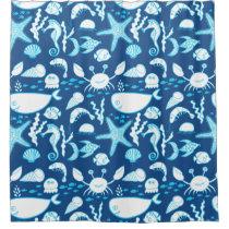 Nautical Ocean Blue Whale Crab Fish Seahorse Shower Curtain