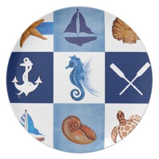 Nautical Ocean Designs Melamine Plate