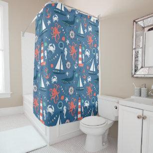 Nautical Ocean Life Shower Curtain