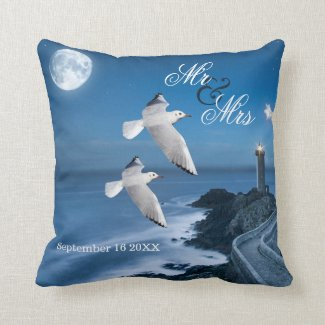 Nautical Ocean Lighthouse Wedding Pillow