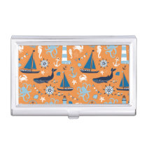 Nautical Ocean Orange Business Card Holder