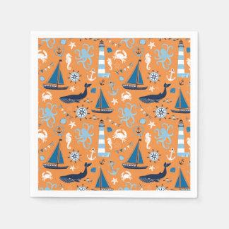 Nautical Ocean Orange Standard Cocktail Napkin