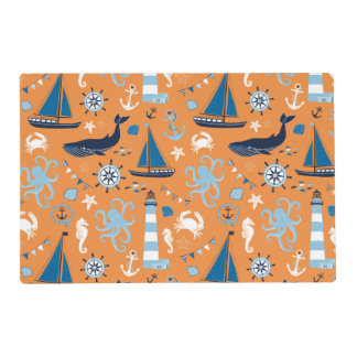 Nautical Ocean Orange Placemat