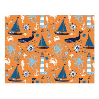 Nautical Ocean Orange Post Cards