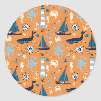 Nautical Ocean Orange Classic Round Sticker