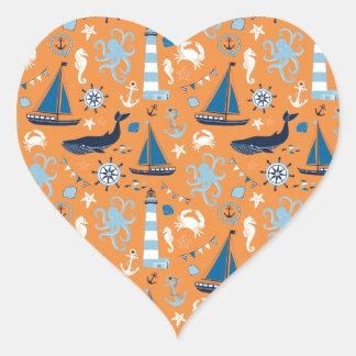 Nautical Ocean Orange Heart Sticker