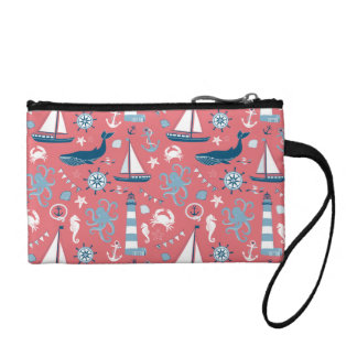 Nautical Ocean Rose Change Purse