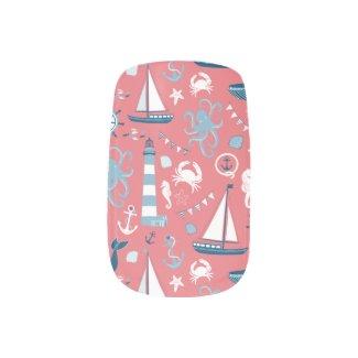 Nautical Ocean Rose Minx Nail Wraps