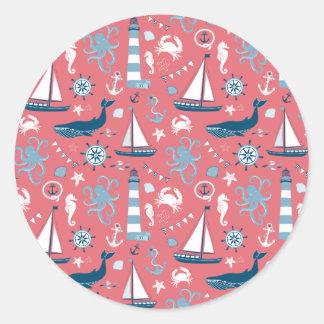 Nautical Ocean Rose Classic Round Sticker