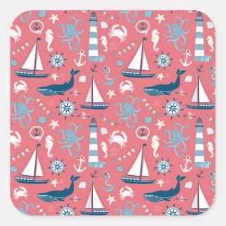 Nautical Ocean Rose Square Sticker