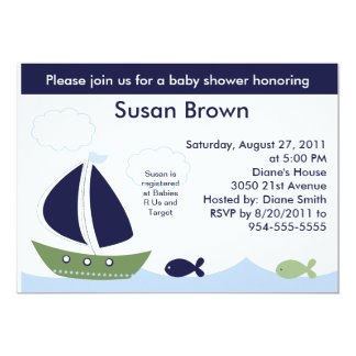 Nautical/Ocean/Sailboats Baby Shower Invitation