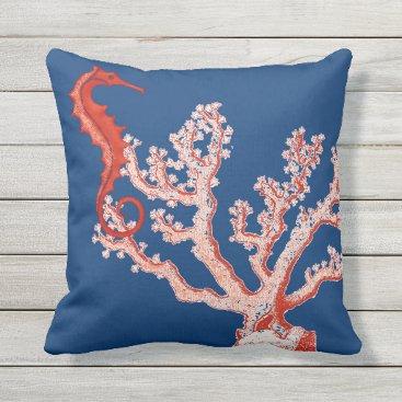 Beach Themed Nautical Ocean Sea Life Red Coral Seahorse Vintage Throw Pillow