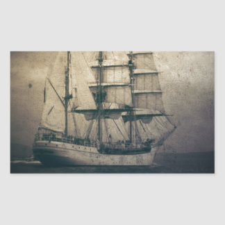 Nautical Ocean Sea Vintage Sailing sailboat Rectangular Sticker