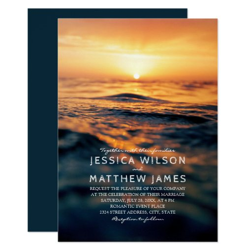 Nautical Ocean Sunset Beach Themed Wedding Invitation