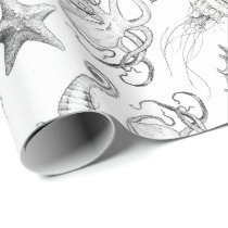 Nautical Ocean Theme Sea Creatures Black and White Wrapping Paper