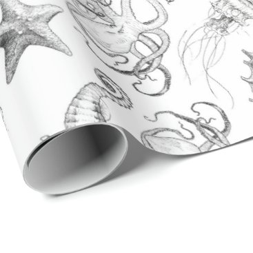 Beach Themed Nautical Ocean Theme Sea Creatures Black and White Wrapping Paper