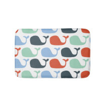 Nautical Ocean Whales Bathroom Mat