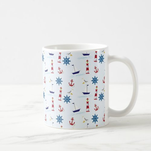 Nautical Oceanic Anchors and Lighthouses Coffee Cu Coffee Mug