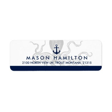 Beach Themed Nautical Octopus and Anchor | Return Address Label