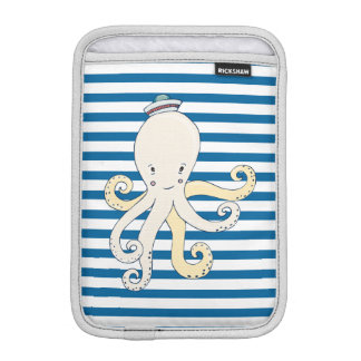 Nautical Octopus Blue and White Stripe iPad Mini Sleeves