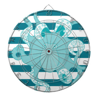 Nautical Octopus Blue Bold Stripes Dartboards