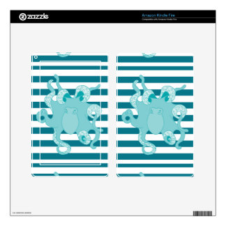 Nautical Octopus Blue Bold Stripes Decals For Kindle Fire