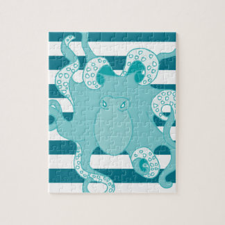 Nautical Octopus Blue Bold Stripes Jigsaw Puzzle