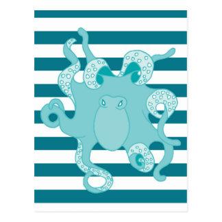 Nautical Octopus Blue Bold Stripes Postcard