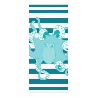 Nautical Octopus Blue Bold Stripes Rack Card