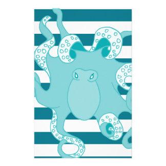 Nautical Octopus Blue Bold Stripes Stationery