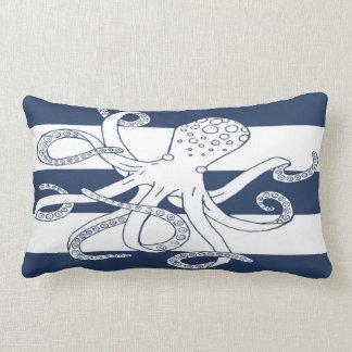 Nautical Octopus Blue Stripe Lumbar Pillow