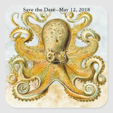 Beach Themed Nautical Octopus Kraken Squid Save the Date Square Sticker
