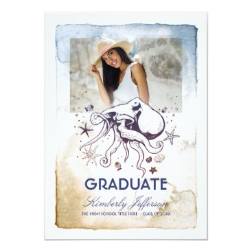 Beach Themed Nautical Octopus Photo Graduation Card