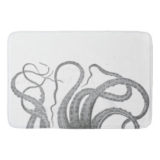 Nautical octopus tentacles vintage kraken steampun bathroom mat