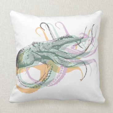 Beach Themed Nautical Octopus Throw Pillow
