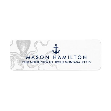 Beach Themed Nautical Octopus with Anchor | Return Address Label