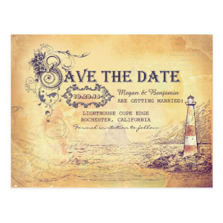 Nautical old vintage lighthouse save the date postcard