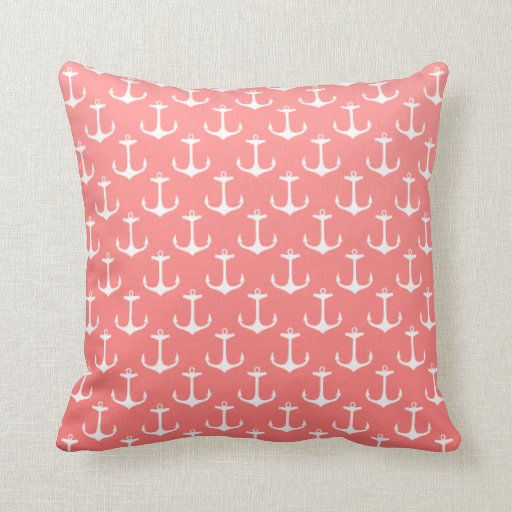 Nautical Ombre Coral Pink  White Anchor Pattern Throw Pillow