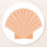 Nautical Orange Seashell Beach Wedding Party Round Paper Coaster