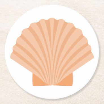 Beach Themed Nautical Orange Seashell Beach Wedding Party Round Paper Coaster