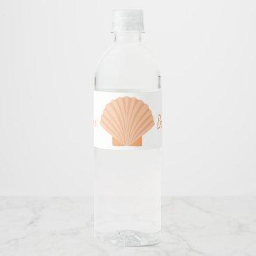 Beach Themed Nautical Orange Seashell Beach Wedding Party Water Bottle Label