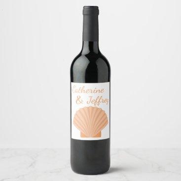 Beach Themed Nautical Orange Seashell Beach Wedding Party Wine Label