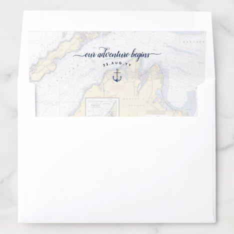 Nautical Our Adventure Begins | Martha's Vineyard Envelope Liner