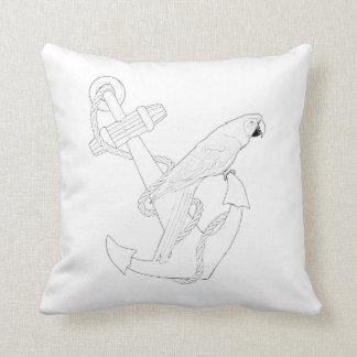 Nautical Parrot Adult Coloring Pillow