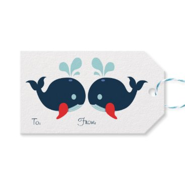 Beach Themed Nautical Party Whales Navy Blue, Red Wedding Beach Gift Tags