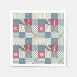 Nautical Patchwork Quilt Pattern Paper Napkin